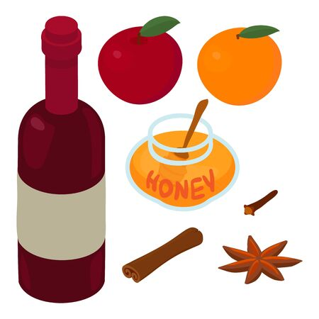Mulled wine ingredients icon. Isometric of mulled wine ingredients vector icon for web design isolated on white background