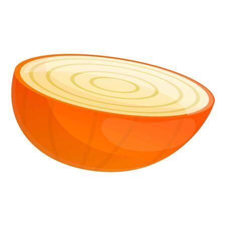 Half kitchen onion icon. Cartoon of half kitchen onion vector icon for web design isolated on white background 矢量图像