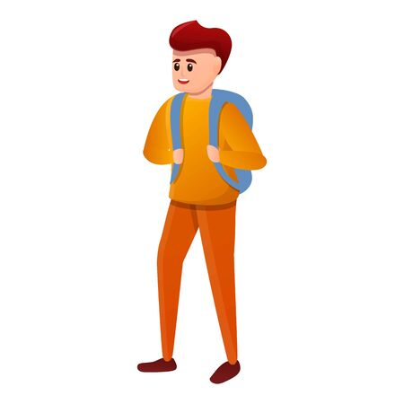 Modern student boy icon. Cartoon of modern student boy vector icon for web design isolated on white background Illustration