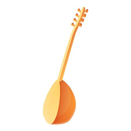 Turkish string instrument icon. Cartoon of turkish string instrument vector icon for web design isolated on white background