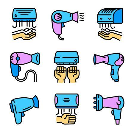 Dryer icons set. Outline set of dryer vector icons for web design isolated on white background Vektorové ilustrace