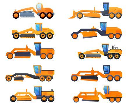 Grader machine icons set. Cartoon set of grader machine vector icons for web design