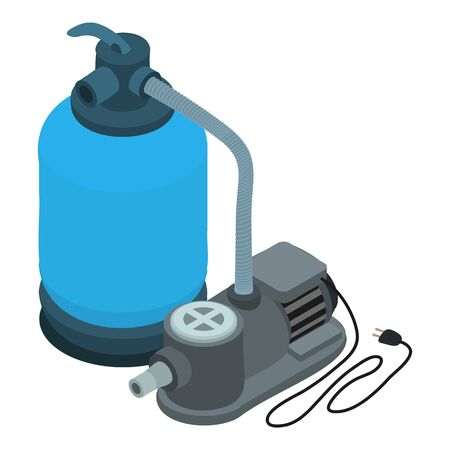 Pool motor pump icon. Isometric of pool motor pump vector icon for web design isolated on white background