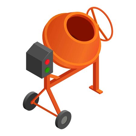 Concrete mixer icon. Isometric of concrete mixer vector icon for web design isolated on white background