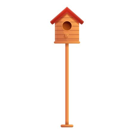 Bird house on pillar icon. Cartoon of bird house on pillar vector icon for web design isolated on white background Ilustração