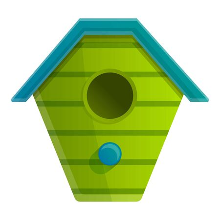 Green bird house icon. Cartoon of green bird house vector icon for web design isolated on white background Иллюстрация