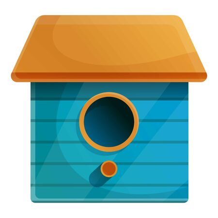 Blue bird house icon. Cartoon of blue bird house vector icon for web design isolated on white background 向量圖像