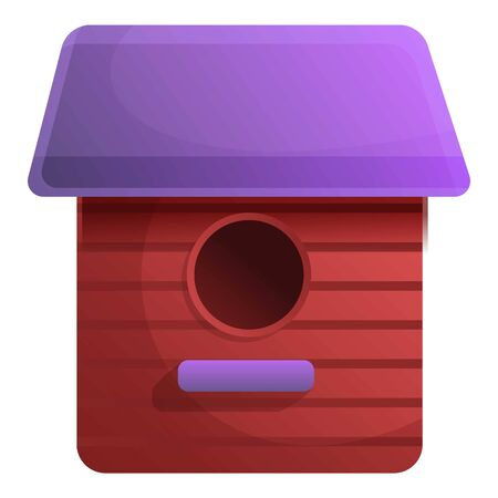 Red bird house icon. Cartoon of red bird house vector icon for web design isolated on white background