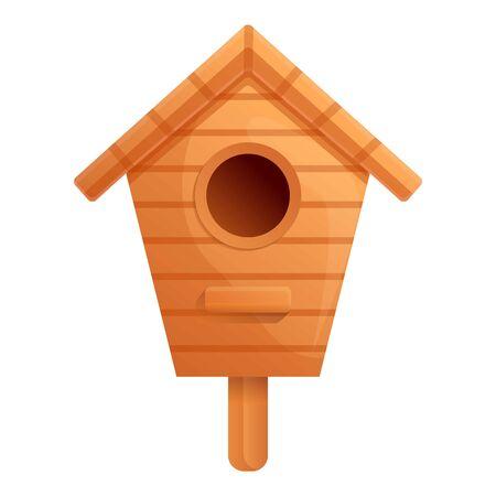 School bird house icon. Cartoon of school bird house vector icon for web design isolated on white background Ilustração