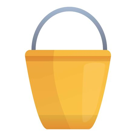 Metal bucket icon. Cartoon of metal bucket vector icon for web design isolated on white background Illustration