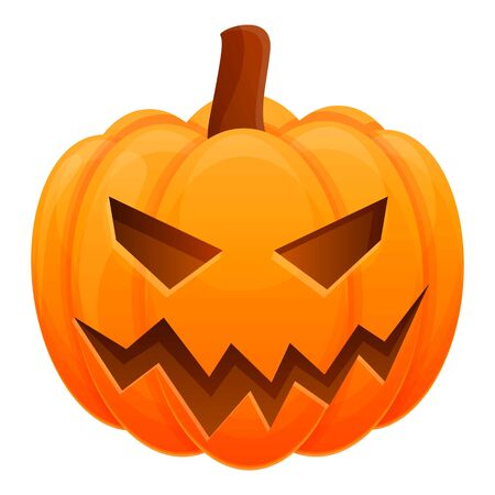 Pumpkin icon. Cartoon of pumpkin vector icon for web design isolated on white background Vetores