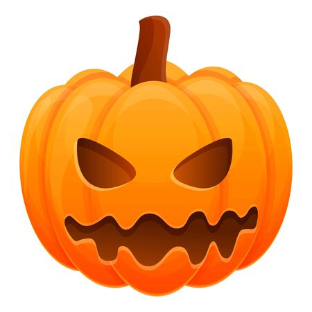 Cute teeth pumpkin icon. Cartoon of cute teeth pumpkin vector icon for web design isolated on white background