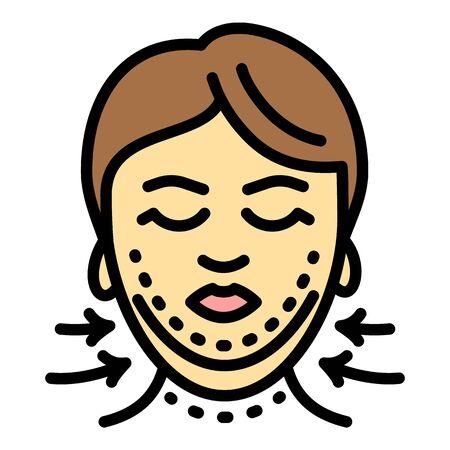 Facial correction icon. Outline facial correction vector icon for web design isolated on white background