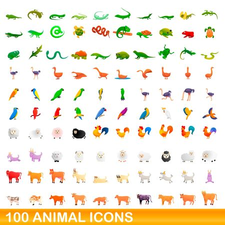 100 animal icons set. Cartoon illustration of 100 animal icons vector set isolated on white background 向量圖像