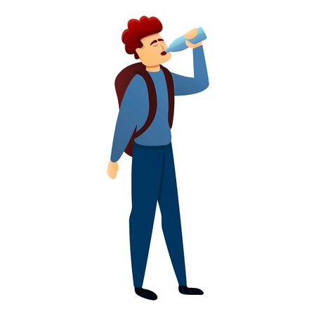Boy with backpack drink water icon. Cartoon of boy with backpack drink water vector icon for web design isolated on white background