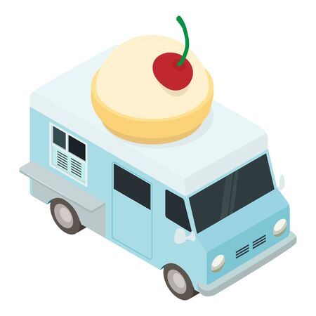 Food dessert truck icon. Isometric of food dessert truck vector icon for web design isolated on white background