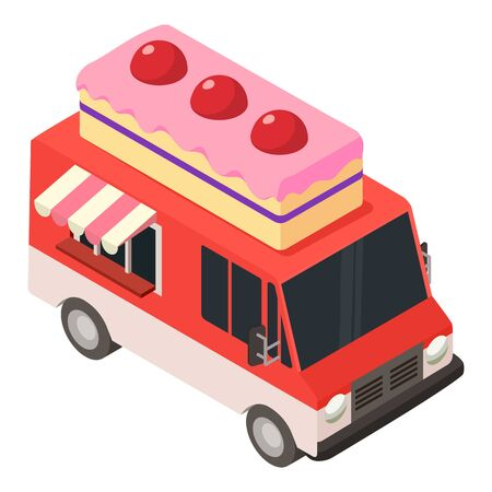 Cake food truck icon. Isometric of cake food truck vector icon for web design isolated on white background