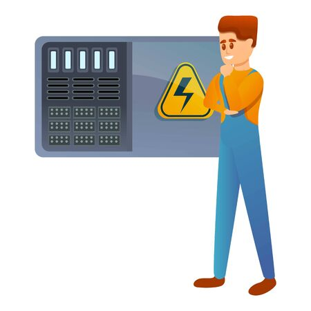 Engineer and electricity panel icon. Cartoon of engineer and electricity panel vector icon for web design isolated on white background Illustration