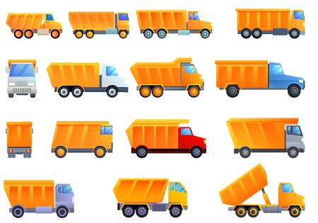 Tipper icons set. Cartoon set of tipper vector icons for web design