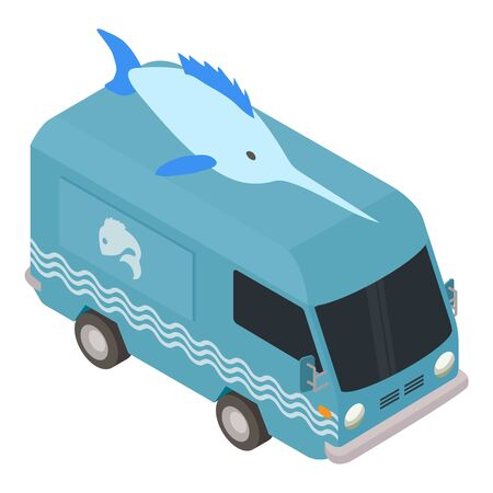 Fish food truck icon. Isometric of fish food truck vector icon for web design isolated on white background 版權商用圖片 - 142729110