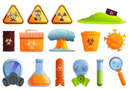 Biohazard icons set. Cartoon set of biohazard vector icons for web design Vetores
