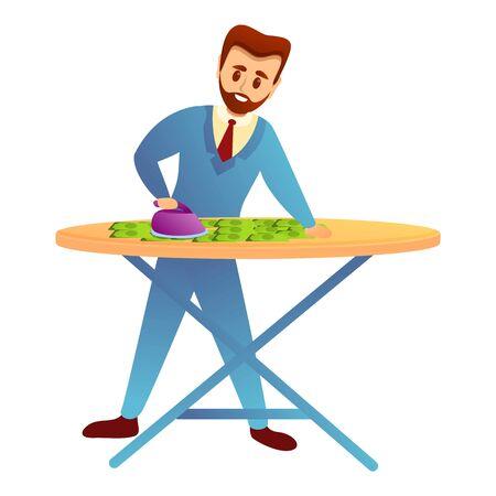 Ironing money icon. Cartoon of ironing money vector icon for web design isolated on white background