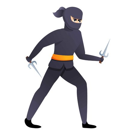 Asian ninja with sai weapon icon. Cartoon of asian ninja with sai weapon vector icon for web design isolated on white background
