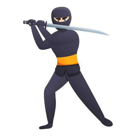 Ninja with sword icon. Cartoon of ninja with sword vector icon for web design isolated on white background