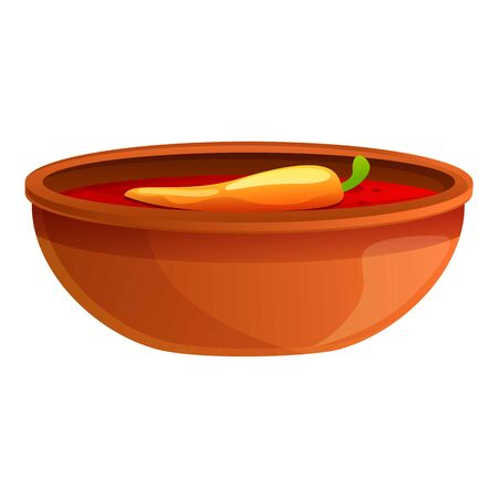 Mexican chilli soup icon. Cartoon of mexican chilli soup vector icon for web design isolated on white background Ilustração