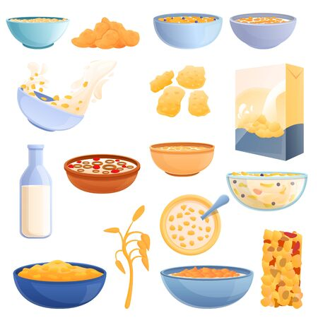 Cereal flakes icons set. Cartoon set of cereal flakes vector icons for web design Vecteurs