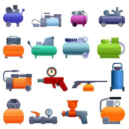 Air compressor icons set. Cartoon set of air compressor vector icons for web design
