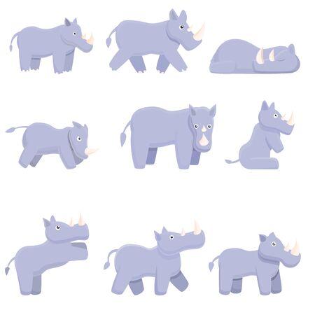 Rhino icons set. Cartoon set of rhino vector icons for web design