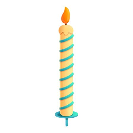 Cake candle icon. Cartoon of cake candle vector icon for web design isolated on white background
