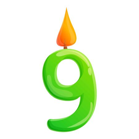 Nine number candle icon. Cartoon of nine number candle vector icon for web design isolated on white background