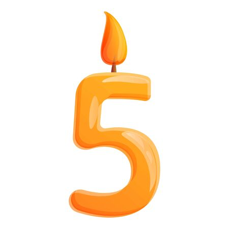 Five number candle icon. Cartoon of five number candle vector icon for web design isolated on white background