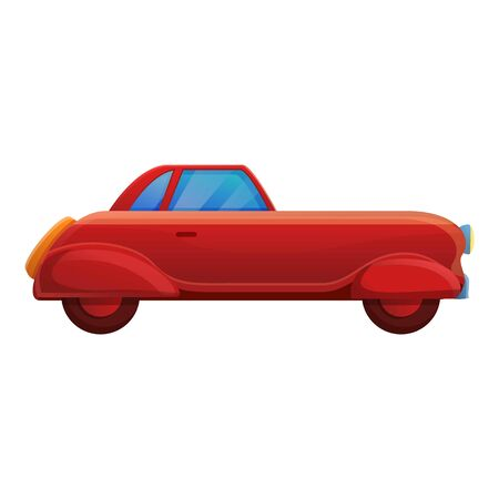 Red retro car icon. Cartoon of red retro car vector icon for web design isolated on white background
