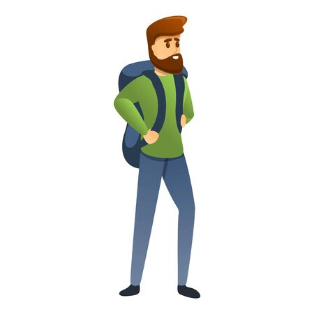 Hiking man icon. Cartoon of hiking man vector icon for web design isolated on white background  イラスト・ベクター素材