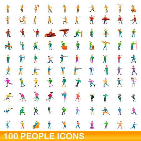 100 people icons set. Cartoon illustration of 100 people icons vector set isolated on white background 版權商用圖片 - 143529848
