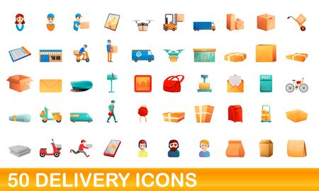 50 delivery icons set. Cartoon illustration of 50 delivery icons vector set isolated on white background
