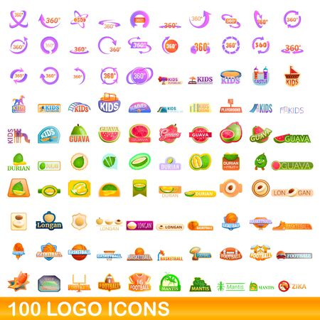 100 logo icons set. Cartoon illustration of 100 logo icons vector set isolated on white background Ilustracja