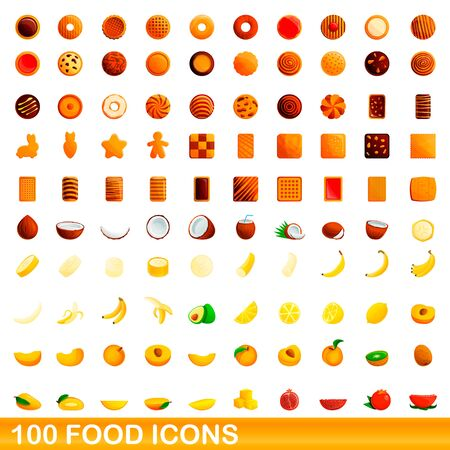 100 food icons set. Cartoon illustration of 100 food icons vector set isolated on white background Иллюстрация
