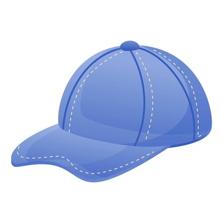 Jeans baseball cap icon. Cartoon of jeans baseball cap vector icon for web design isolated on white background