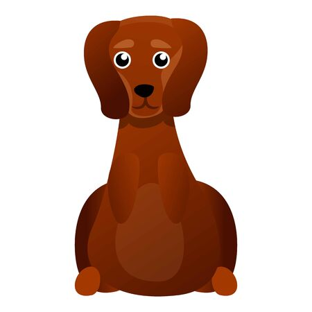 Cute dachshund icon. Cartoon of cute dachshund vector icon for web design isolated on white background