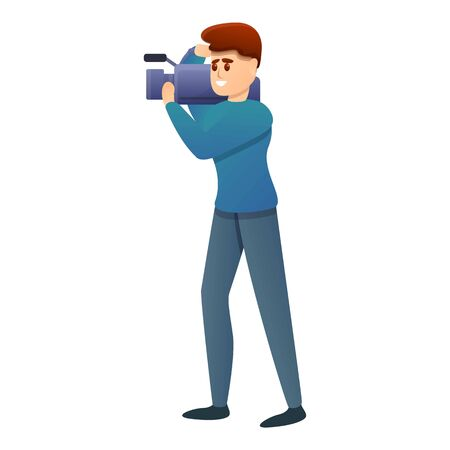Cooking show camera operator icon. Cartoon of cooking show camera operator vector icon for web design isolated on white background  イラスト・ベクター素材