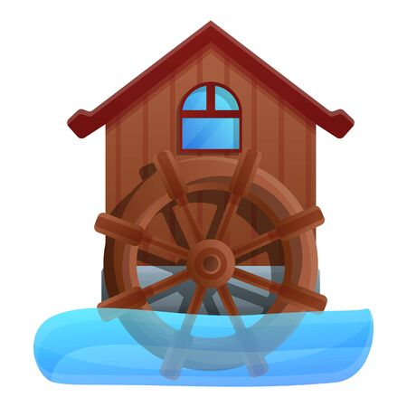 Water mill icon. Cartoon of water mill vector icon for web design isolated on white background