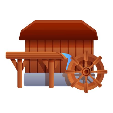 Wood water mill icon. Cartoon of wood water mill vector icon for web design isolated on white background Vector Illustratie