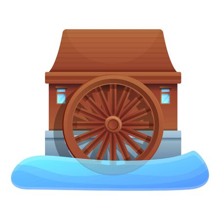 River water mill icon. Cartoon of river water mill vector icon for web design isolated on white background Illustration