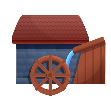 Farm water mill icon. Cartoon of farm water mill vector icon for web design isolated on white background Illustration