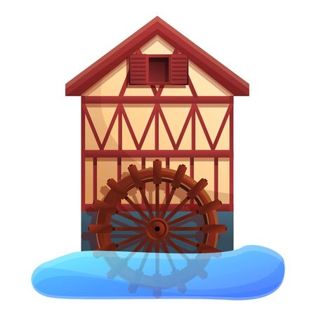 Flour water mill icon. Cartoon of flour water mill vector icon for web design isolated on white background