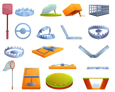 Animal trap icons set. Cartoon set of animal trap vector icons for web design